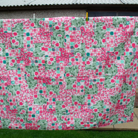 girls single bed quilt, pink and green duvet for teenager, john lewis fabric