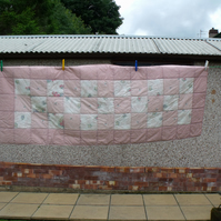 upcycled double bed runner, pink cottage style quilted oblong duvet