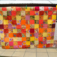 bright ethnic quilted sofa throw, patchwork wall hanging quilt or blanket