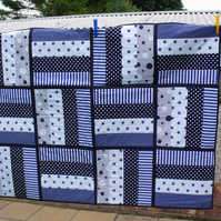 navy blue quilted patchwork cot throw, nursery bedding or play mat