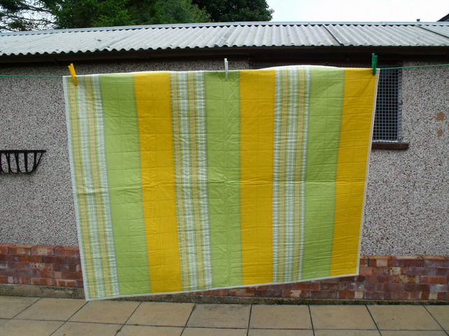upcycled striped quilted sofa throw, bright summery coloured duvet