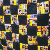 trick or treat halloween sofa or bed throw, quilted wall hanging, 45 x 51