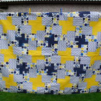 boys single bed quilt, blue and yellow duvet for teenager, john lewis fabric