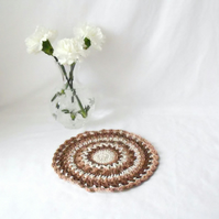 neutral coloured crocheted doily, beige crocheted mandala