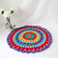 large multi coloured crocheted mandala doily for your home