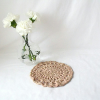 beige cotton crocheted doily, crochet candle mat or lamp stand.
