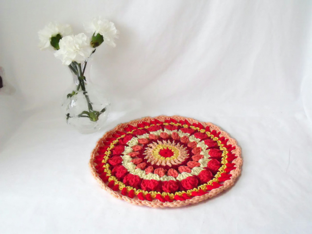vibrant crocheted cotton doily, bright crochet table centrepiece mandala