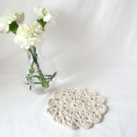 cream flower cotton crocheted doily, crocheted candle mat for your home.