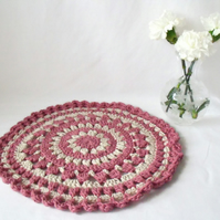 dusky pink crocheted cotton doily mandala for your plant, lamp or vase