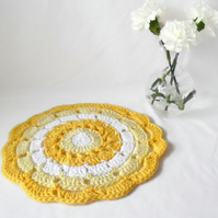 yellow crochet mandala, decorative summery crocheted doily for your home