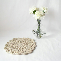 cream crocheted cotton mandala, decorative doily for under a vase, lamp, candle
