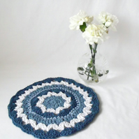 denim blue crocheted cotton doily, 9 inch  crochet mandala