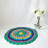 multi coloured crocheted cotton doily, 11 inch colourful crochet mandala