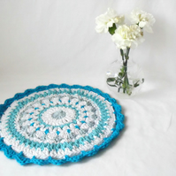 11 inch turquoise crochet mandala,  crisp clean crocheted cotton doily