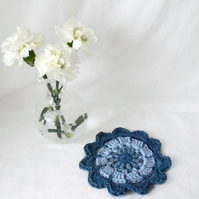 denim blue crocheted cotton doily mandala for your plant, lamp or vase