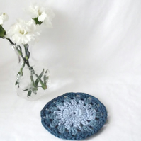 small denim blue cotton crocheted doily, crochet mug rug