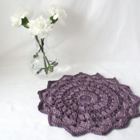 purple and lilac crocheted cotton doily, funky lilac mandala
