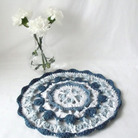 blue and white crocheted cotton doily, crochet mandala home accent