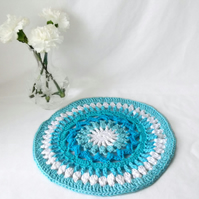 bright turquoise crocheted cotton doily, crochet home accessory