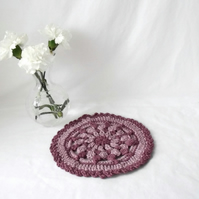 dusky pink crochet mandala, decorative crocheted doily for your home