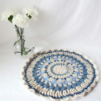 cream and blue crocheted cotton mandala, decorative doily home decor