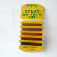 vintage unused Glista nylon hose mending thread, stocking repair thread