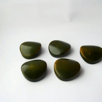 set of six vintage concave olive green shank buttons for seamstress