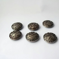 set of vintage pewter coloured resin shank buttons for theatrical costumier