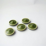 set of five 1960's vintage green and cream resin pointy shank buttons