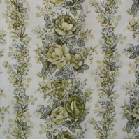vintage green curtain fabric to upcycle, 1960s floral curtaining material