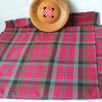 dark pinky red tartan polyester upholstery fabric,big off cut checked material