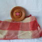 terracotta checked voile curtain fabric, window treatment unused remnant