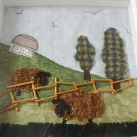 mixed media scenery framed picture, fabric applique wall art