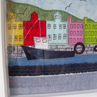 Tobermoray harbour applique wall art, scottish fabric collage picture