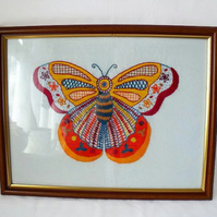 large colourful butterfly framed wall hanging, house warming gift, 15 x 12""