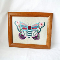 large butterfly framed wall hanging, house warming gift, 10 x 12""
