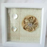 cottage chic vintage style flower framed picture with mother of pearl buttons