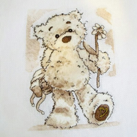 sepia teddy bear cross stitch picture, ready to frame for the nursery