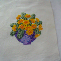 primula cross stitch picture, ready to frame floral wall art