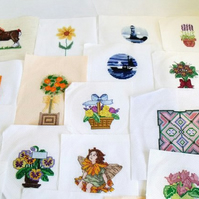 huge collection of a variety of cross stitch pieces for you to upcycle or frame