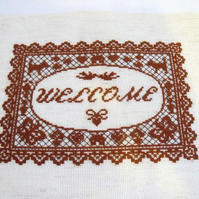 brown welcome cross stitch for a new home or house warming gift