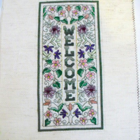oblong welcome cross stitch for a new home or house warming gift