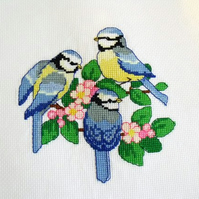 blue tits cross stitch picture ready for you to frame, house warming gift