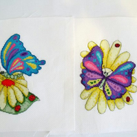 two bright stylized butterfly cross stitches for bedroom, craft room or nursery