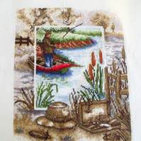 Sepia fisherman cross stitch ready to frame for the angler in your life