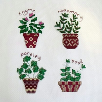 herbs cross stitch picture ready to frame for your home or for a gift