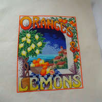 oranges and lemons cross stitch picture ready to frame for your home