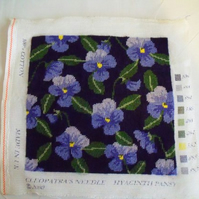 Pansy tapestry cushion or stool panel for re use or upholstery