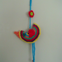 decorative crocheted plush hanging bird ornament, quirky