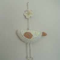 cute neutral crocheted hanging bird decoration, cream plush parrot
